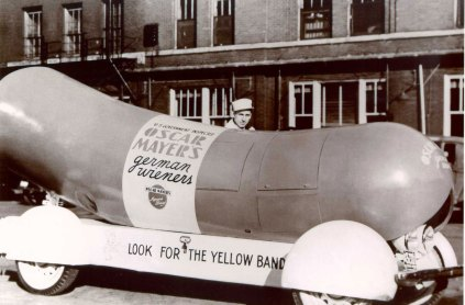 An early Wienermobile.