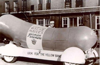 An early Wienermobile.