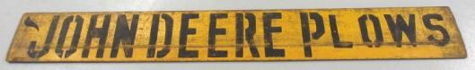 John Deere Plows sign, 8 feet long.